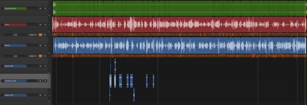 Das Bild zeigt einen Screenshot der Schnittsoftware reaper mit Ultraschall-Skin. Darin sind sechs Tonspuren angelegt auf denen sich unterschiedlich viele Elemente befinden.